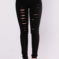 No Promises Distressed Skinny Jeans - Black