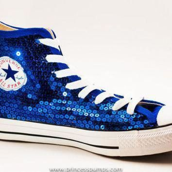 QIYIF royal blue sequin converse canvas hi top