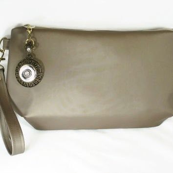 Taupe Vegan Leather Clutch Beige Vegan Leather Wristlet Medium Clutch Taupe Zipper Clutch Wristlet