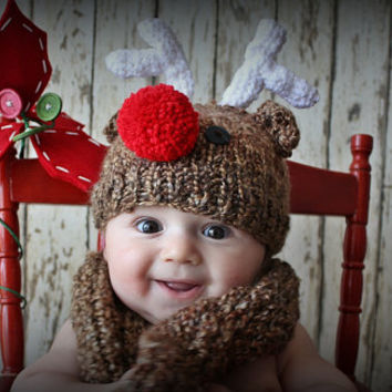 Knit Holiday Christmas Reindeer Hat Rudolph the red nose hat for newborn baby u choose size
