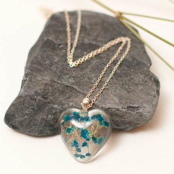 Blue Babies Breath Flowers Encapsulated in a Heart Shaped Pendant, Eco Friendly Jewelry