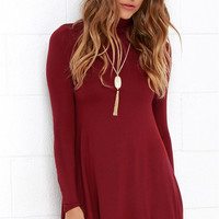 Plain Turtle-Neck Long Sleeve Dress