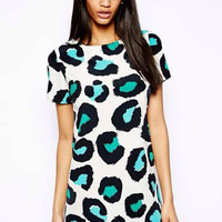 Leopard Print Short Sleeve Mini A-Line Dress