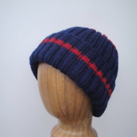 Warm Wool Beanie Hat, Hand Knit, Navy & Red Stripes, Watch Cap, Teens Women Adults, Stretchy Fit Cap