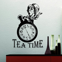 Mad Hatter Tea Party Alice In Wonderland Wall Decal Quote Tea Time Wall Decals Quotes Vinyl Stickers Tea Lover Gift Dining Room Decor Q077
