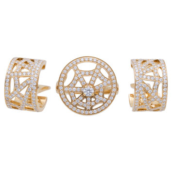 Chaumet Par Diamond Ring Gold Earring Set