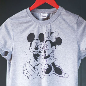 Vintage girl's tee top Mickey Mouse - Mickey Minnie Pluto Disney Tshirt her - 90s Tshirt grey Disney - Tee Size M Mickey and Minnie