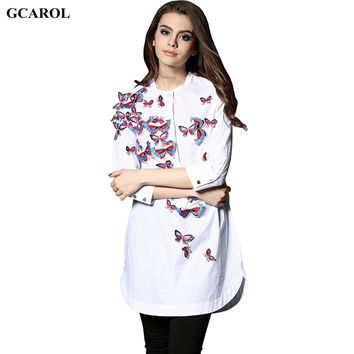 Women Embroidery Stereo Butterfly Blouse Unique Design Long Blouse Asymmetric Length 3/4 Sleeve Long Shirt For 4 Season