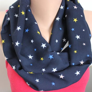 Star Print Loop Scarf, Star Pattern Infinity Scarf, Star Scarf, Tube Scarf, Navy Blue Yellow Salmon White Grey Scarf, Fashion Scarf, For Her