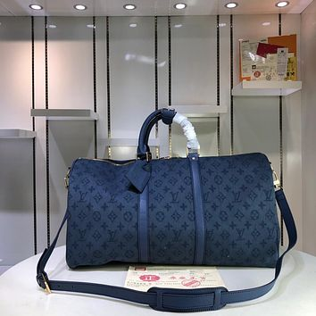 Kuyou Gb29828 Louis Vuitton Lv M44645 Monogram Denim Travel All Collections Keepall Bandouliere 50  50x 29x 23cm