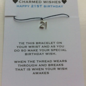21st birthday bracelet | Wish bracelet | friendship bracelet | 21st birthday card | key to the door | Happy 21st birthday | 21st gift
