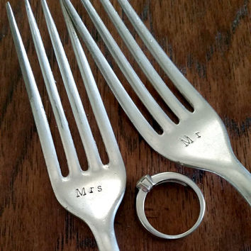 Wedding Forks - Mr & Mrs - Silver Plate hand stamped ware