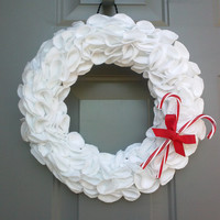 Christmas Wreath, White Wreath, Candy Canes, Winter Wreath, White and Red Wreath, Holiday Decor, Holiday Wreath, Christmas Decorations,