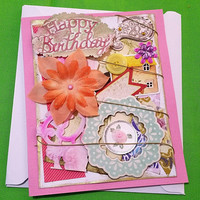 Mixed Media Cards - Birthday Best Wishes - Happy Birthday Cards - Mixed Media Greeting Cards - Cards all occasions - Unique cards - Cards