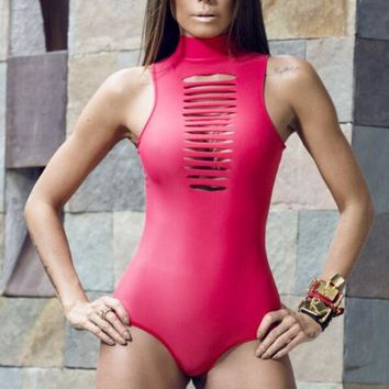 VONE055 Hollow Out Zipper One Piece Swimsuit Swimwear