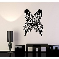 Vinyl Wall Decal Feathers Ethnic Style Art Decoration Room Stickers Unique Gift (989ig)