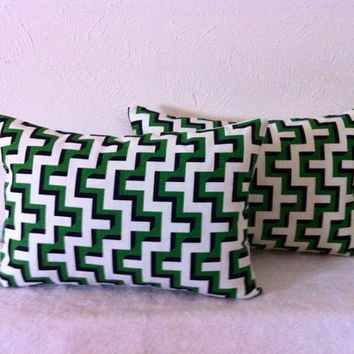 Decorative-Accent-Throw  Set of Two Pillow Covers-Free US Shipping-12 x 18 Inch Jigsaw Puzzle in Emerald Green, Black and White