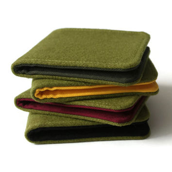Minimalist BiFold Fabric Wallet in Olive Green Wool