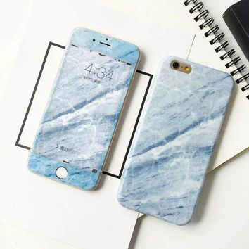 Marble iPhone 6S 6 soft rubber case with Full Coverage Tempered Glass Screen Protector S007-1