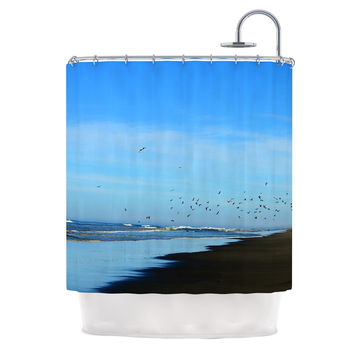 "Robin Dickinson ""Beach Hair"" Blue Coastal Shower Curtain"