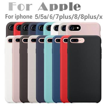 Have LOGO Original Silicone Case For iPhone 7 6 6s Plus For Apple Phone Case Cover iPhone X 10 8 8 Plus For iPhone 5 5s se