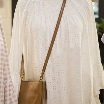 Eyelet Lace Ruched Knit Top, Ivory