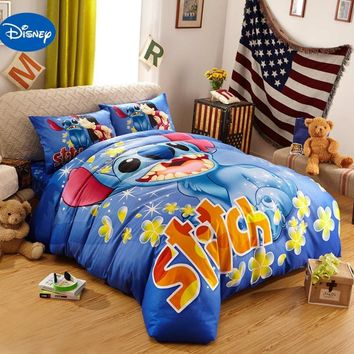 Cool Blue Disney Cartoon Lilo and Stitch Bedding Sets for Boys Bedroom Decor Cotton Bedclothes Comforters Single Twin Queen King SizeAT_93_12