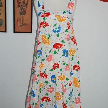 Vintage 70s Mod Rainbow Polda-dots and Flowers Sun Dress
