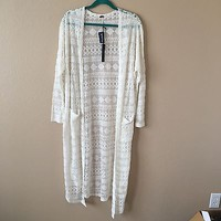 White Cream Embroidered Lace Long Long sleeve Cardigan By Poof Size M