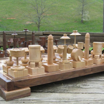 Drum Chess Set  on etsy custom chess sets chess tables   chess pieces