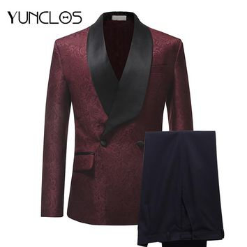 YUNCLOS New Arrival 2018 Men Suits Burgundy Red Jacquard 2 Pieces Set Tuxedo Groomsman Wedding Suits Terno Masculino