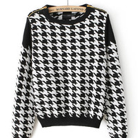 Houndstooth Pattern Zipper Shoulder Long Sleeve Knitted Sweater
