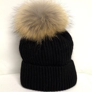 Linda Richards Rib Hat W/ Pom Pom