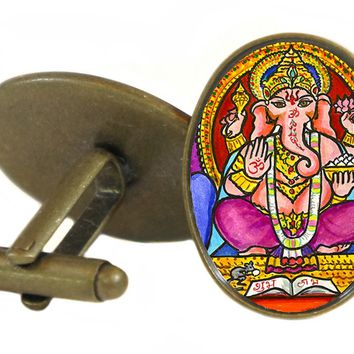 "Lord Ganesh for Intellect Wisdom & Breaking Obstacles 1"" Oval Pair of Cufflinks"