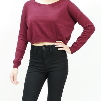 Long sleeve boxy knit crop top sweater Burgundy