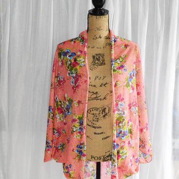 Pink Floral Cocoon Cardigan/ Lightweight Knit Wrap/ Long Cocoon Jacket/ Batwing Sleeve Cardigan/ Oversized Kimono Shrug