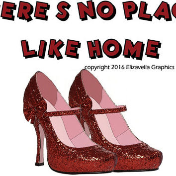 Glittery sparkly red high heel womans shoe clip art digital download clipart red shoes no place like home