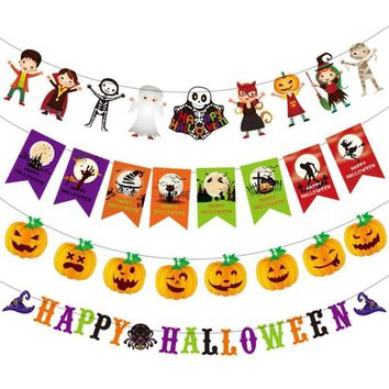 Halloween Decorating Cartoon Pumpkin Hanging Triangle Flag Banners Pennant Bunting Bar Hotel Party Holiday DIY Decoration