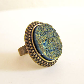 Druzy Ring Ombre Sage Teal Gold Moss Green Blue Statement Ring Chunky Big Adjustable Antique Brass Ring Rustic Stone Ring