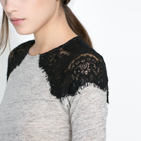 T-SHIRT WITH LACE DETAIL