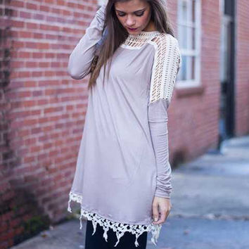 Grey Long Sleeve Lace Panel T-Shirt