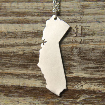 California Map Necklace, Available in Silver or Gold - California Silhouette Land Map