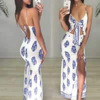 Strappy Sexy Backless Print Drees