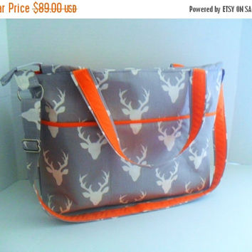 SALE Large Diaper Bag - Gray Deer - Zipper Closure - Messenger - Tote Bag - Diaper Bag - Stroller Strap - Monogramming Available - Laptop