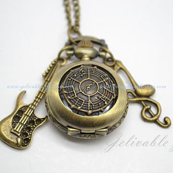Antique brass Musical Notes pocket watch, music symbol compass necklace with guitar and musical note pendants NWMN01
