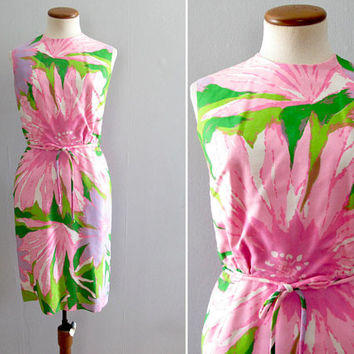 60s floral dress -  vintage pastel oversized print mod shift mid century a line sheath sleeveless pink green purple white retro wiggle fit