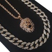 """New 14k Gold PT Hip Hop Snoop Lion 15mm Iced Out Miami Cuban 30"""" Necklace S179"""