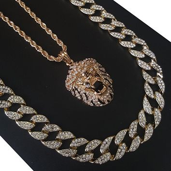"New 14k Gold PT Hip Hop Snoop Lion 15mm Iced Out Miami Cuban 30"" Necklace S179"
