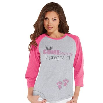 Custom Party Shop Womens Bunny Pregnancy Reveal Easter Raglan Shirt