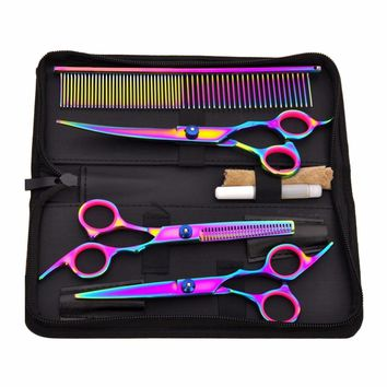 Pet Hair Cut Colorful Scissors Clippers Flat Tooth Cut Pets Beauty Tools Set Kit Dogs Grooming Hair Cutting Scissors Set